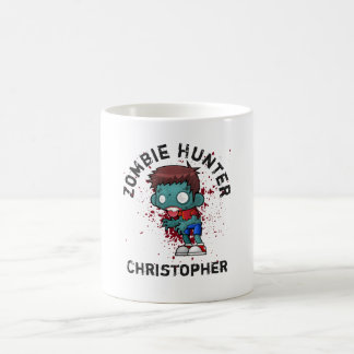 Zombie Hunter with Blood Splatter Creepy Cool Coffee Mug