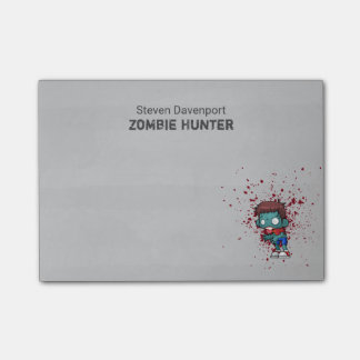 Zombie Hunter with Blood Splatter Creepy Cool Post-it Notes