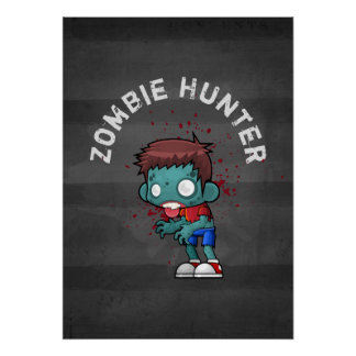 Zombie Hunter with Blood Splatter Creepy Cool Poster