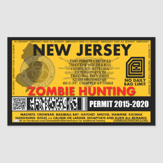 Zombie Hunting Permit New Jersey Sticker