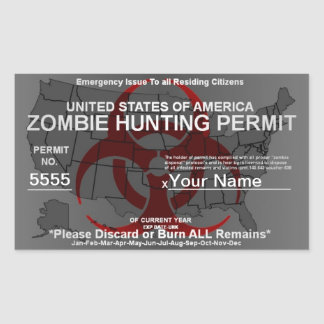 Zombie Hunting Permit Template (Red on Grey) Sticker