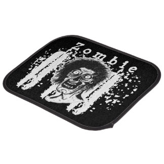 Zombie! Illustrated Zombie Head Black & White 2 Car Mat