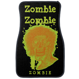 Zombie Illustrated Zombie Head Orange Neon 2 Car Floor Carpet