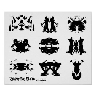 Zombie Ink Blot Rorschach dark psychology Art Poster