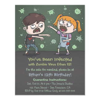Zombie Kids Halloween Birthday Party Invitations