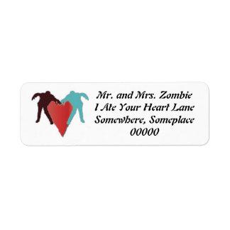 Zombie Love Heart Label Return Address Label