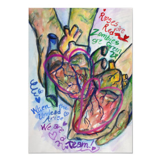 Zombie Love Poem Art Painting Invitations