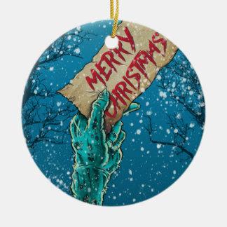 Zombie Merry Christmas Ceramic Ornament