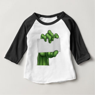 Zombie Monster Halloween Hand Holding Blank Sign Baby T-Shirt