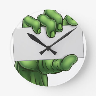 Zombie Monster Halloween Hand Holding Blank Sign Round Clock