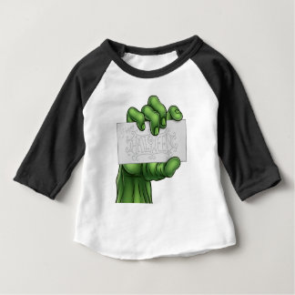 Zombie Monster Hand Holding Happy Halloween Sign Baby T-Shirt