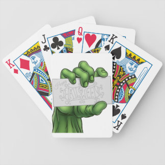 Zombie Monster Hand Holding Happy Halloween Sign Bicycle Playing Cards