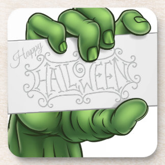 Zombie Monster Hand Holding Happy Halloween Sign Coaster
