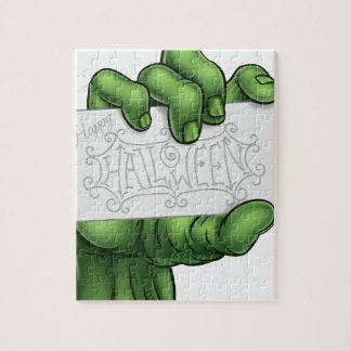 Zombie Monster Hand Holding Happy Halloween Sign Jigsaw Puzzle