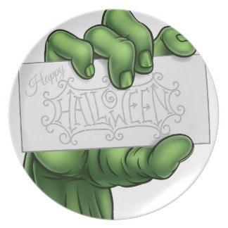 Zombie Monster Hand Holding Happy Halloween Sign Plate