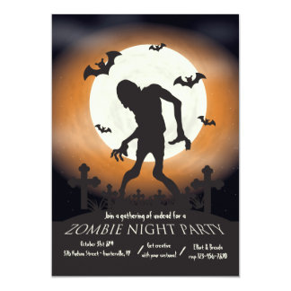 Zombie Night Halloween Party Invitation