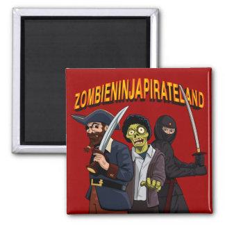 Zombie Ninja Pirate Land Square Magnet