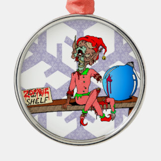 Zombie on a Shelf Silver-Colored Round Ornament