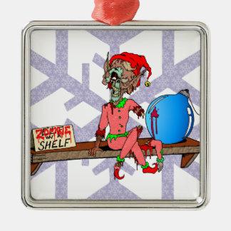Zombie on a Shelf Silver-Colored Square Ornament