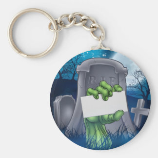 Zombie or Halloween Monster Sign Keychain