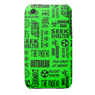 Zombie, Outbreak, Biohazard Black & Neon Green iPhone 3 Covers