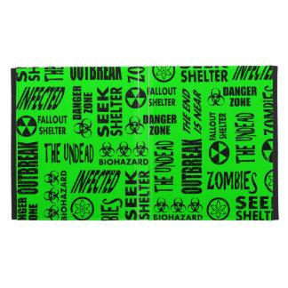 Zombie, Outbreak, Biohazard Black & Neon Green iPad Folio Cover