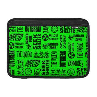 Zombie, Outbreak, Biohazard Black & Neon Green MacBook Air Sleeve