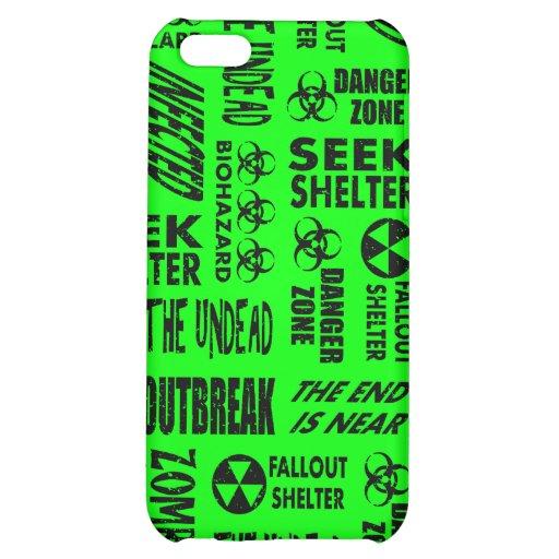 Zombie, Outbreak, Biohazard Black & Neon Green iPhone 5C Cover