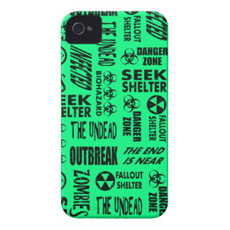 Zombie, Outbreak, Biohazard Black Spring Green iPhone 4 Cover