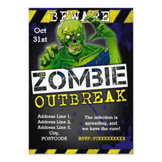 Zombie Outbreak Halloween Party Invite Custom