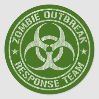 Zombie Outbreak Response Team Army Classic Round Sticker