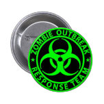 Zombie Outbreak Response Team Neon Green 2 Inch Round Button