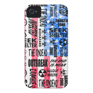 Zombie, Outbreak, Undead, Biohazard American Flag iPhone 4 Case