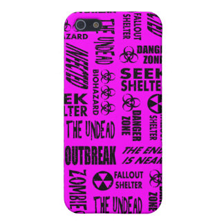 Zombie, Outbreak, Undead, Biohazard Black, Fuchsia Cases For iPhone 5