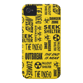 Zombie, Outbreak, Undead, Biohazard Black & Gold iPhone 4 Cover