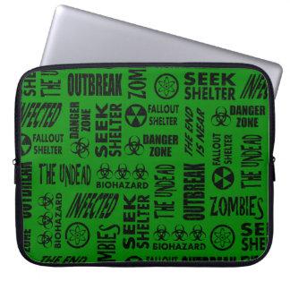 Zombie, Outbreak, Undead, Biohazard Black & Green Laptop Computer Sleeves