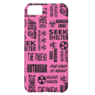 Zombie Outbreak, Undead, Biohazard Black, Hot Pink Case For iPhone 5C