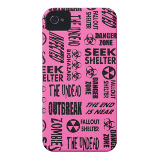 Zombie Outbreak, Undead, Biohazard Black, Hot Pink iPhone 4 Case-Mate Case