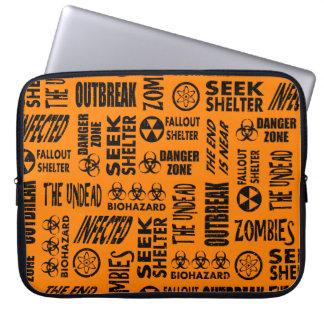 Zombie, Outbreak, Undead, Biohazard Black & Orange Laptop Computer Sleeve