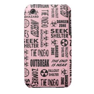 Zombie, Outbreak, Undead, Biohazard Black & Pink iPhone 3 Cases