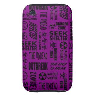 Zombie, Outbreak, Undead, Biohazard Black & Purple Tough iPhone 3 Cover