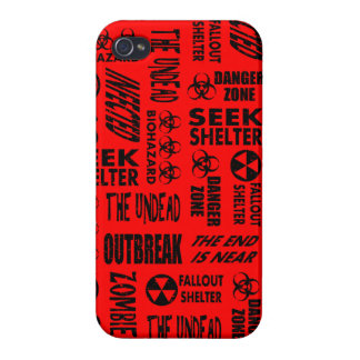 Zombie, Outbreak, Undead, Biohazard Black & Red iPhone 4 Cases