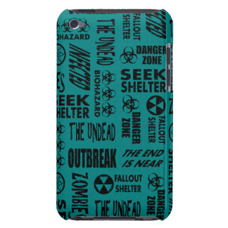 Zombie, Outbreak, Undead, Biohazard Black & Teal Barely There iPod Case