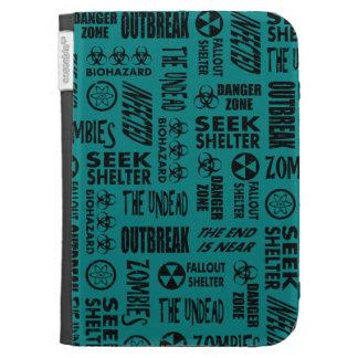 Zombie, Outbreak, Undead, Biohazard Black & Teal Kindle 3 Cases
