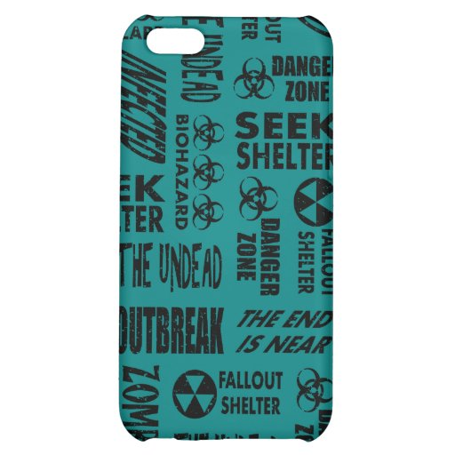Zombie, Outbreak, Undead, Biohazard Black & Teal Case For iPhone 5C