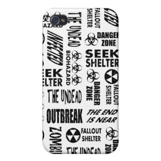 Zombie Outbreak Undead Biohazard Black White Case For iPhone 4