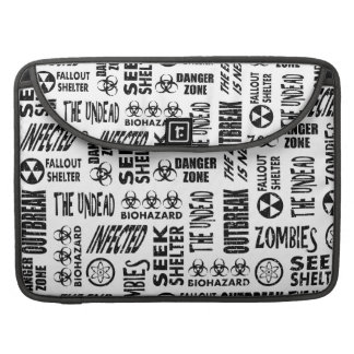 Zombie, Outbreak, Undead, Biohazard Black & White Sleeve For MacBooks