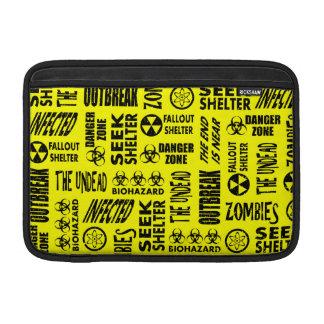Zombie, Outbreak, Undead, Biohazard Black & Yellow MacBook Air Sleeve