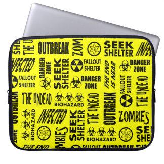 Zombie, Outbreak, Undead, Biohazard Black & Yellow Laptop Sleeves