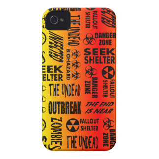 Zombie, Outbreak, Undead, Biohazard Red & Yellow Case-Mate iPhone 4 Cases